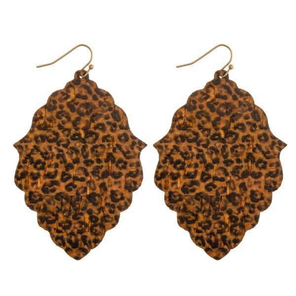 "Lotus cheetah print cork earrings.  - Approximately 3"" in length"