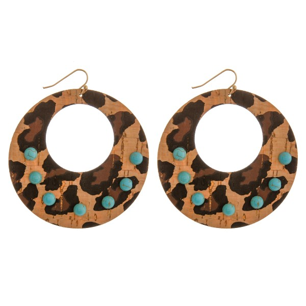 """Thin cork statement earrings with turquoise natural stone details.  - Approximately 3"""" in length and 2.5"""" in diameter"""