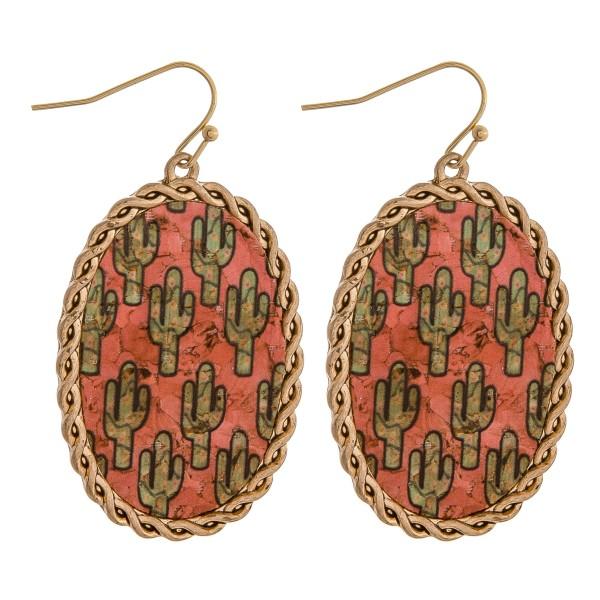 "Cork encased cactus drop earrings.  - Approximately 2"" in length"