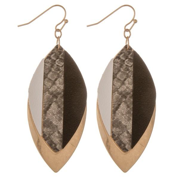 """Raised faux leather snakeskin stripe metal drop earring.  - Approximately 2.5"""" L"""