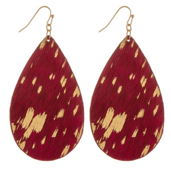 """Metallic cowhide teardrop earrings.  - Approximately 3"""" in length"""