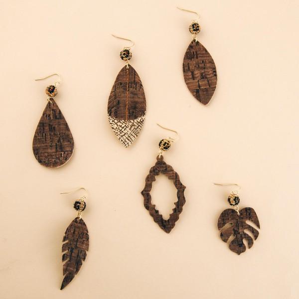 """Leopard print rhinestone cork teardrop earrings.  - Approximately 3.5"""" L"""