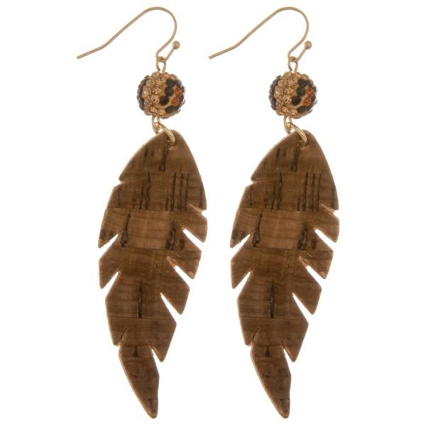 """Leopard print rhinestone cork leaf drop earrings.  - Approximately 3.5"""" L"""