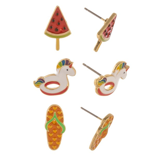 """Enamel coated summer time stud earring set.  - 3 pairs/pack - Watermelon Popsicle, Unicorn Pool Float and Flipflop - Approximately .5"""" in size"""