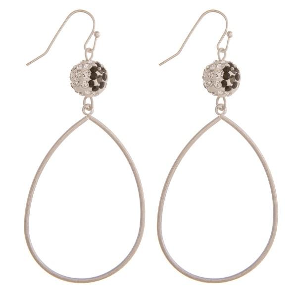 """Silver leopard print rhinestone teardrop earrings.  - Approximately 2.5"""" in length"""