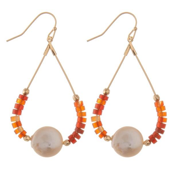 "Semi precious beaded faux pearl teardrop earrings.  - Approximately 2.5"" L"