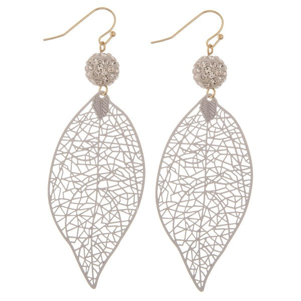 "Rhinestone filigree leaf drop earrings.  - Approximately 3.5"" L"