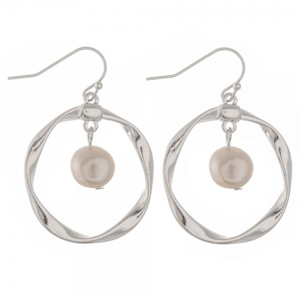 "Freshwater pearl nested round twisted drop earrings.  - Approximately 1.5"" in length and 1"" in diameter"