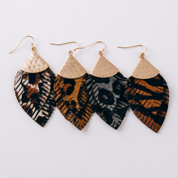 """Doubled genuine leather animal print feather earrings.  - Approximately 2.5"""" in length"""