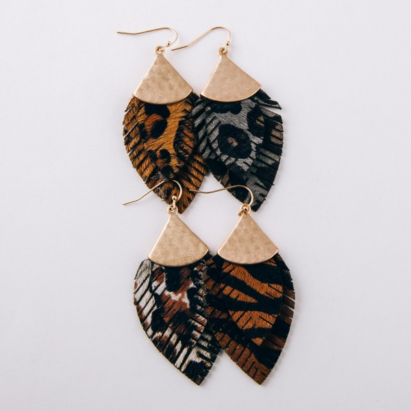 """Doubled genuine leather leopard print feather earrings.  - Approximately 2.5"""" in length"""