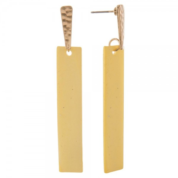 """Hammered genuine shell bar drop earrings.  - Approximately 2.5"""" in length"""