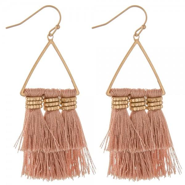 """Triangle bohemian tassel earrings.  - Approximately 2.5"""" in length"""
