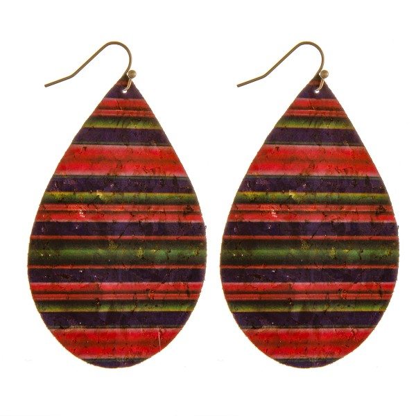 "Thin cork horizontal serape teardrop earrings.  - Approximately 3"" in length"
