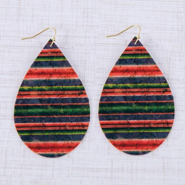 """Thin cork horizontal serape teardrop earrings.  - Approximately 3"""" in length"""