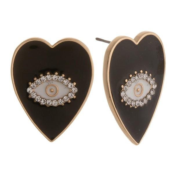 "Enamel coated evil eye stud earrings.  - Approximately 1"" in length"