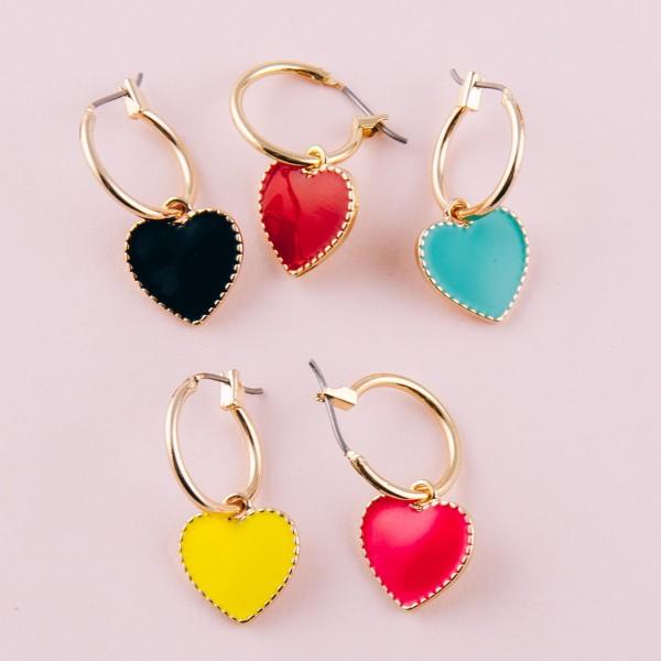 """Enamel coated heart pin catch hoop drop earrings.  - Approximately 1"""" in length"""