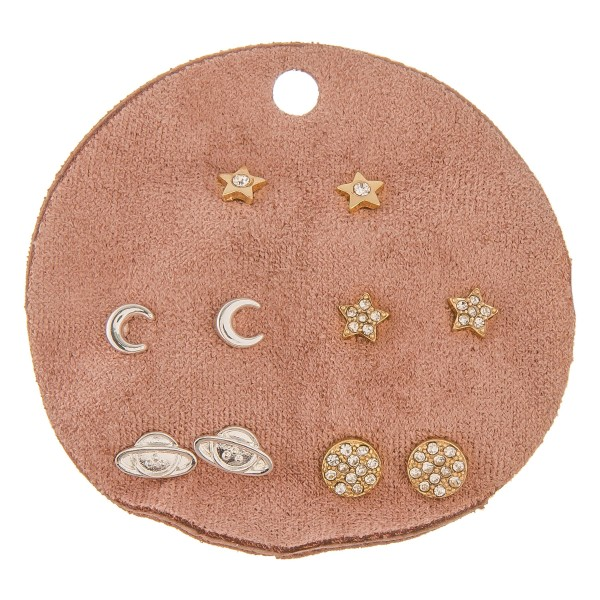 Dainty metal stud mix earring set.  - 5pairs/pack - Rhinestones, Stars, Moons and Spaceships - Approximately 5mm in size
