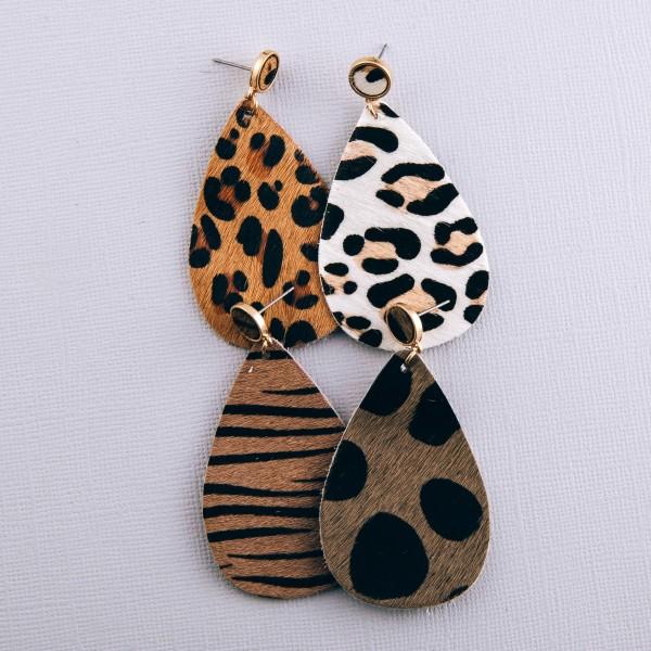 """Genuine leather leopard print cowhide teardrop earrings.  - Approximately 2.5"""" L"""