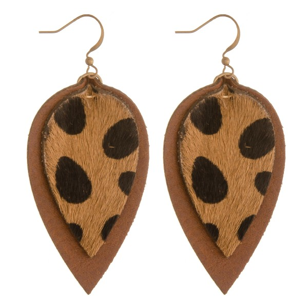 """Cowhide genuine leather layered cheetah print earrings.  - Approximately 2.5"""" in length"""