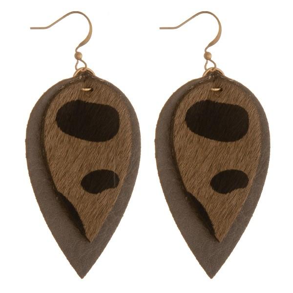 Wholesale cowhide genuine leather layered cheetah print earrings