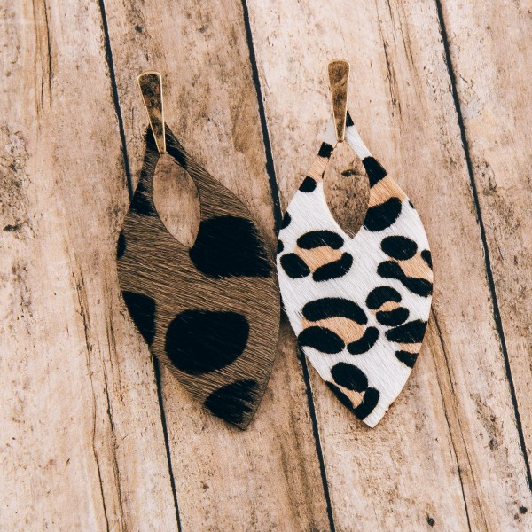 """Genuine leather leopard print cowhide cut out drop earrings.  - Approximately 3"""" in length"""