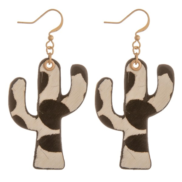 """Genuine leather double sided cow print cactus earrings.  - Approximately 2.25"""" in length"""