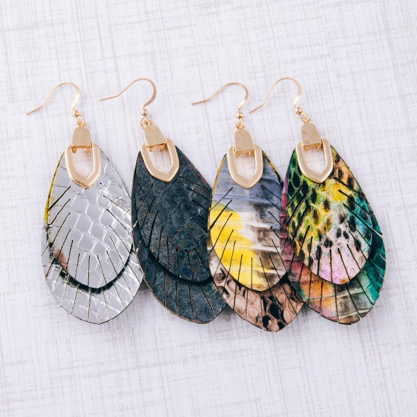 """Metallic genuine leather animal print feather bohemian earrings.  - Approximately 3"""" in length"""