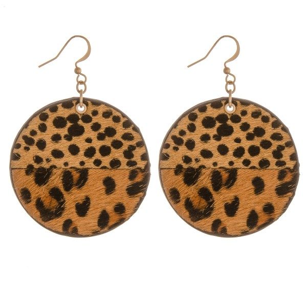 """Genuine leather doubled sided multi animal print earrings.  - Approximately 2"""" in diameter"""