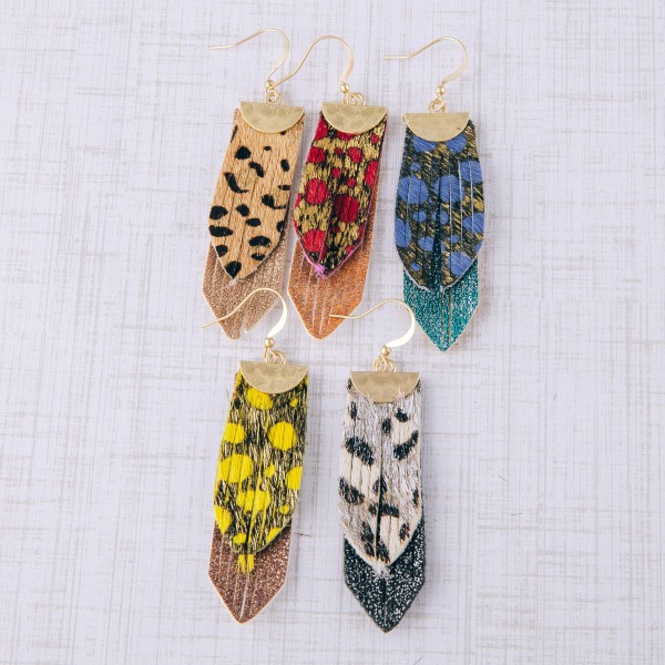 """Genuine leather layered animal print earrings.  - Approximately 2.25"""" in length"""