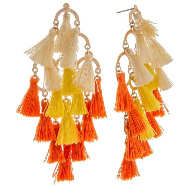 """Linked tassel drop earrings.  - Approximately 3"""" in length"""