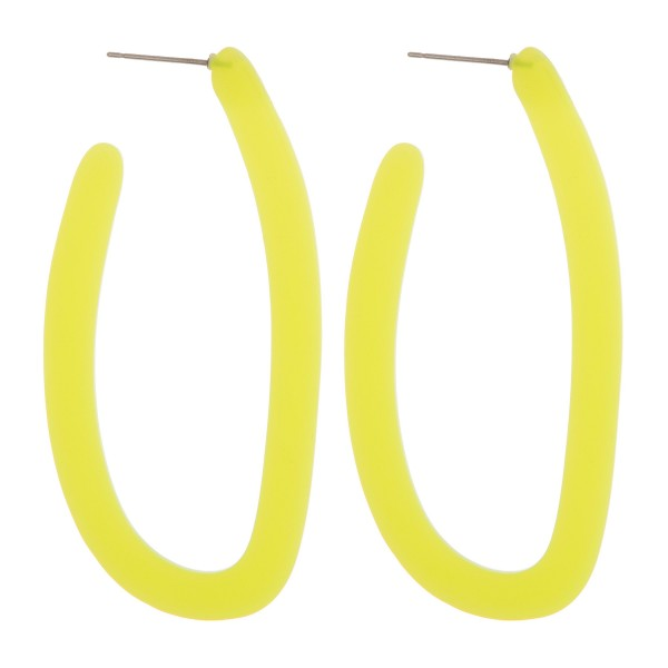 "Resin colored j-hoop earrings.  - Approximately 2.5"" in length"