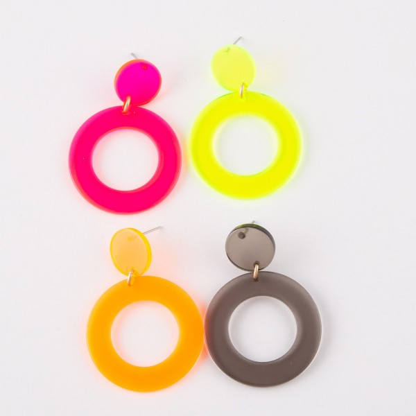 "Transparent retro resin earrings.  - Approximately 2"" in length and 1.25"" in diameter"