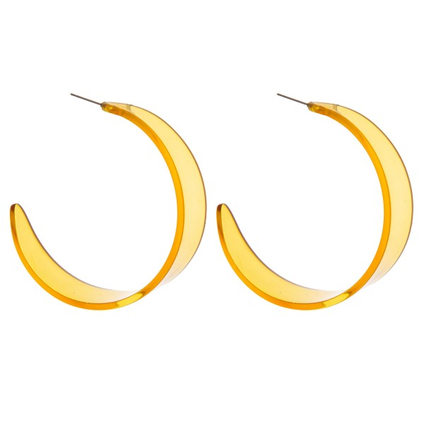 "Retro acrylic open hoop earrings.  - Approximately 2.25"" in diameter and .5"" in width"