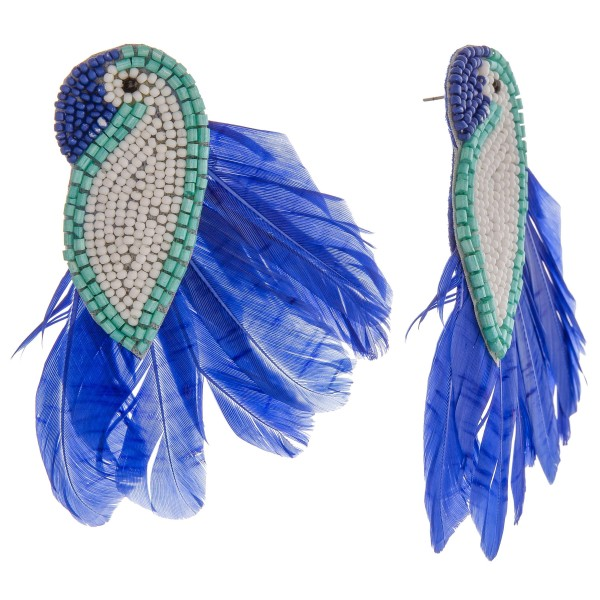 "Seed beaded felt bird feather statement earrings.  - Approximately 4"" in length"