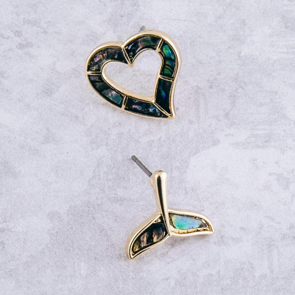 "Gold genuine abalone open heart stud earrings.  - Approximately .5"""