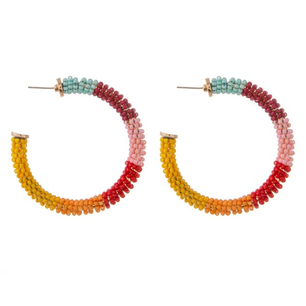 """Multicolor seed beaded wrapped statement hoop earrings.  - Approximately 2"""" in diameter"""
