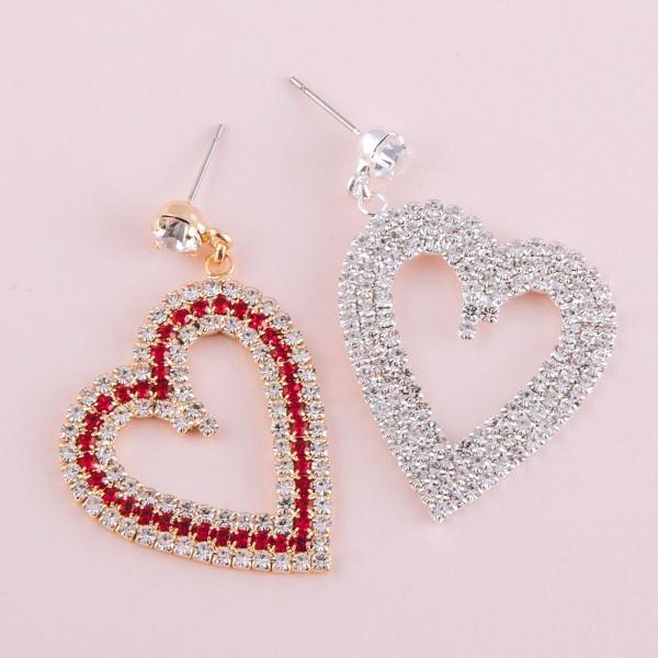 """Rhinestone bling open heart drop earrings.  - Approximately 2"""" in length"""