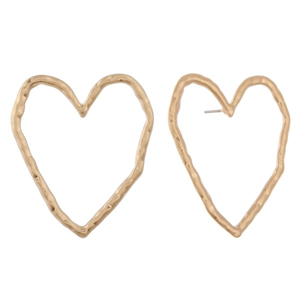 """Oversized hammered heart stud earrings.  - Approximately 1.5"""" L"""