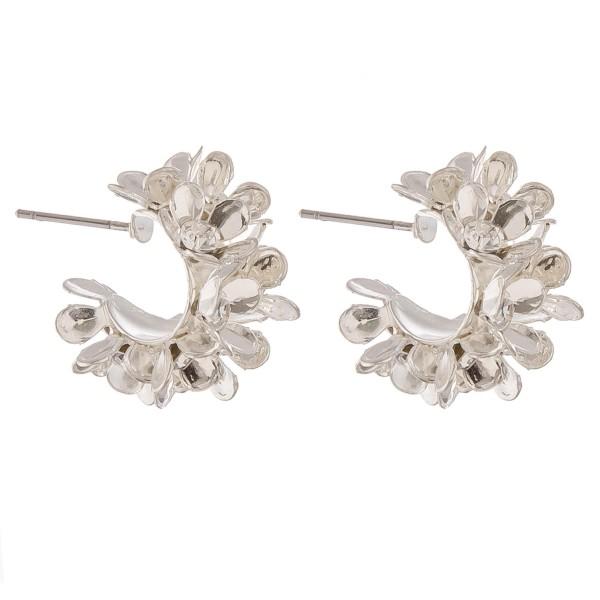 """Rhinestone flower clustered hoop earrings.  - Approximately .75"""" in diameter"""