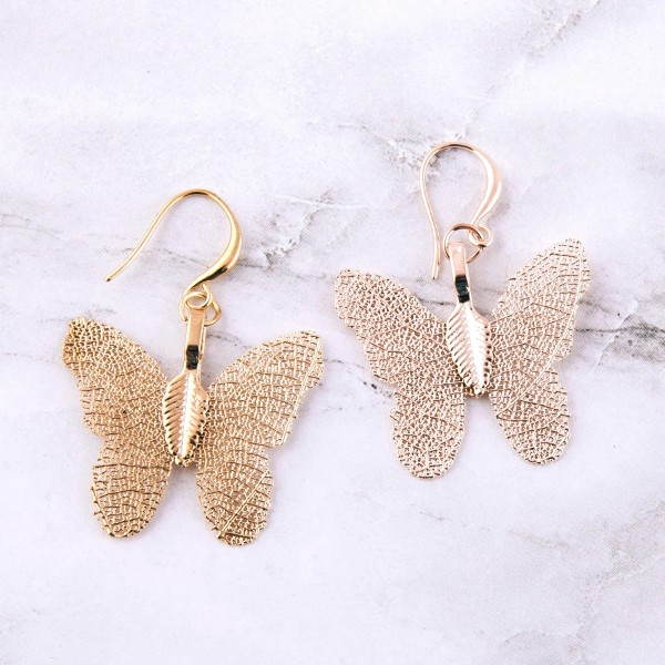 "Butterfly filigree drop earrings.  - Approximately 1.5"" L"