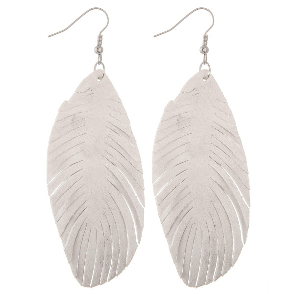 "Narrow faux suede feather cut out drop earrings.  - Approximately 4"" L"