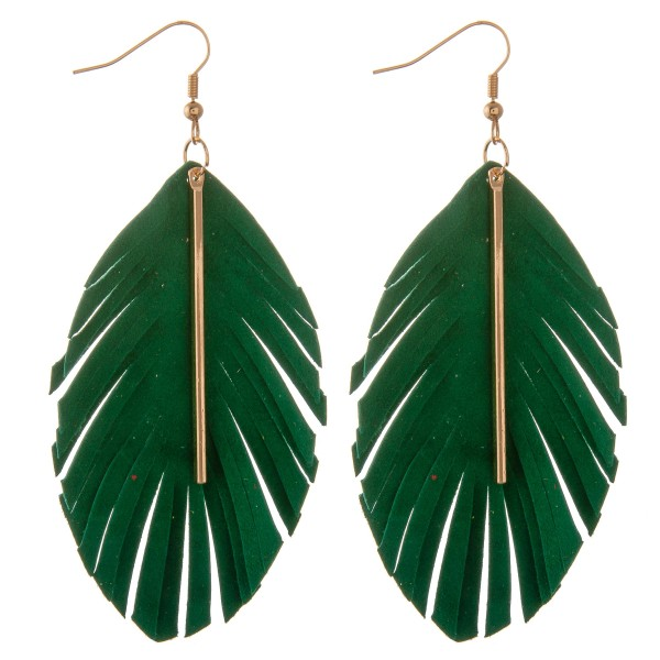 "Faux suede feather cut out bar earrings.  - Approximately 4"" L"
