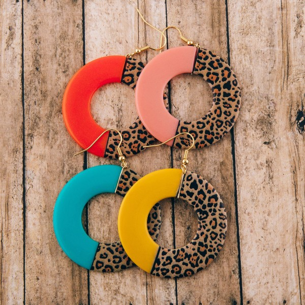 """Half and Half leopard print resin drop earrings.  - Approximately 2.5"""" L - Approximately 2"""" in diameter"""