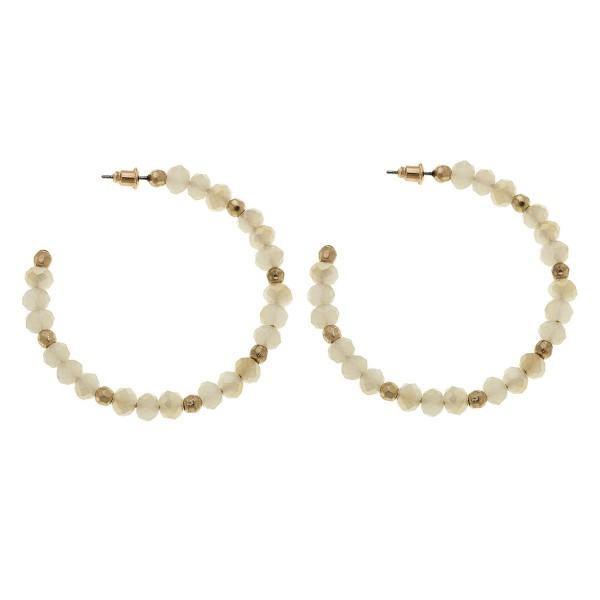 "Beaded Open Hoop Earrings.  - Approximately 2"" in diameter"