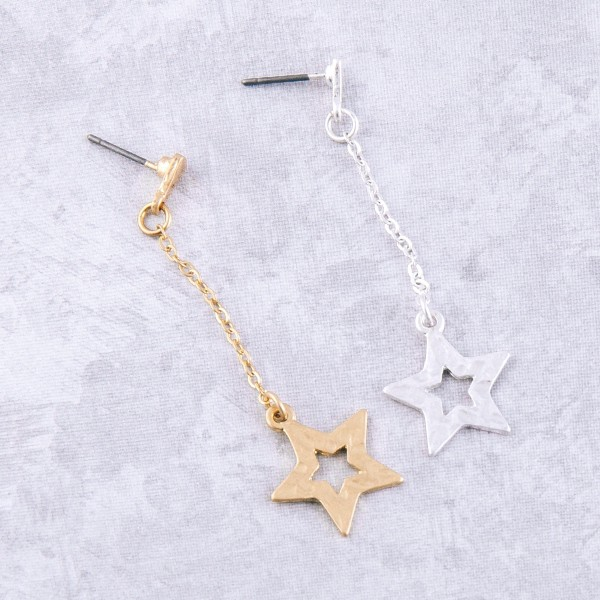 """Hammered chain star drop earrings.  - Approximately 2.25"""" L"""