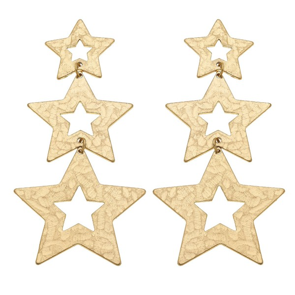 """Worn Gold Hammered Star Statement Drop Earrings.  - Approximately 3.5"""" L"""