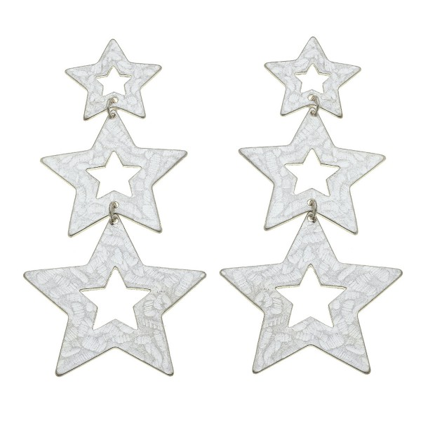 """Worn Silver Hammered Star Statement Drop Earrings.  - Approximately 3.5"""" L"""