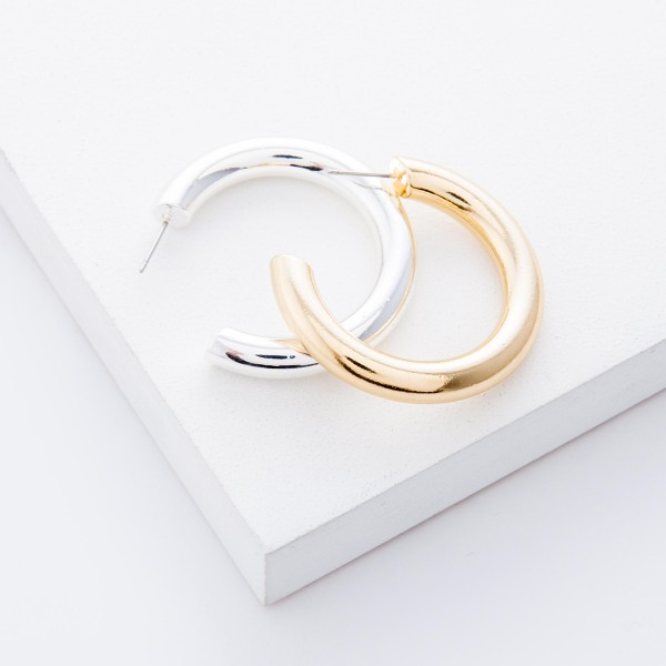 "Satin Silver open hoop earrings.  - Approximately 1.5"" in diameter - Hoop Thickness 5mm"
