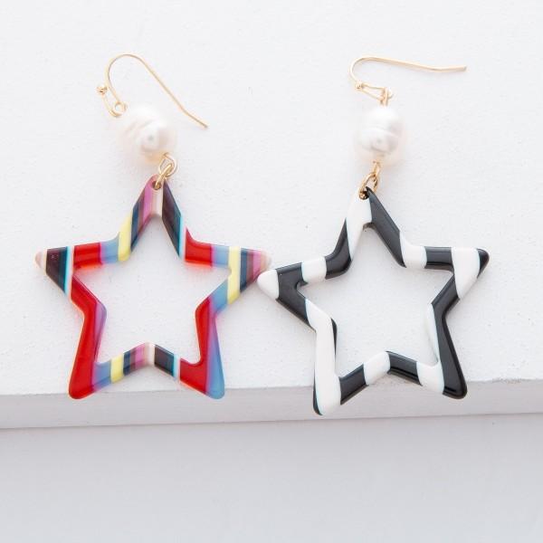 """Pearl Resin Stripe Star Drop Earrings.  - Approximately 2.25"""" L"""