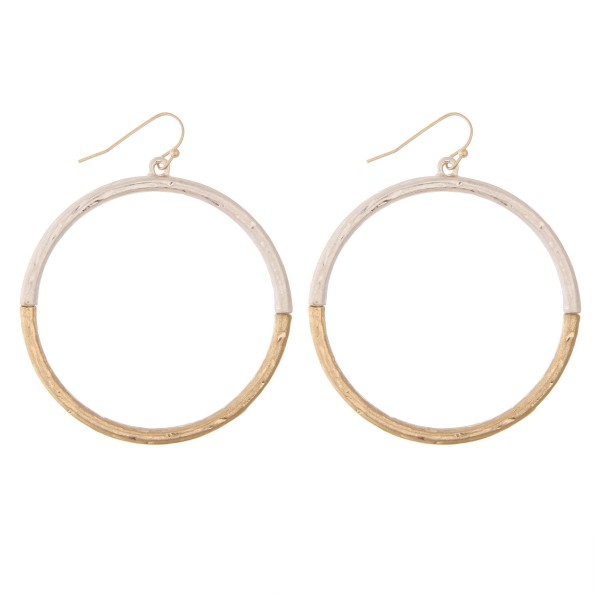 "Worn Two Tone Circle Drop Earrings.  - Approximately 2"" in diameter  - Approximately 2.25"" L overall"